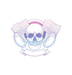 sketch skull american football player vector image