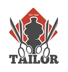 Tailor service or atelier mannequin and scissors vector