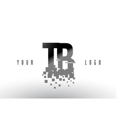 Tb t b pixel letter logo with digital shattered vector