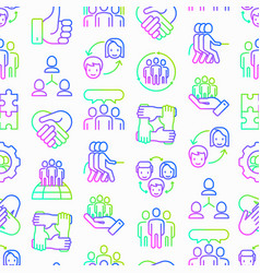 teamwork seamless pattern with thin line icons vector image