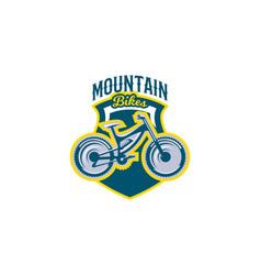 The emblem of the mountain bike sport bike logo vector