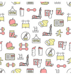 thin line art slimming seamless pattern vector image