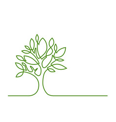 Tree green one line vector