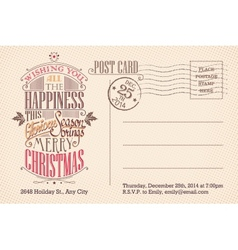 Vintage merry Christmas holiday postcard vector image