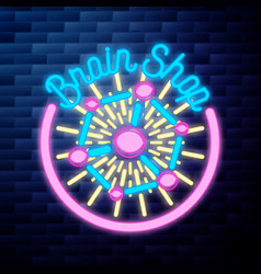vintage scientific shops emblem glowing neon sign vector image