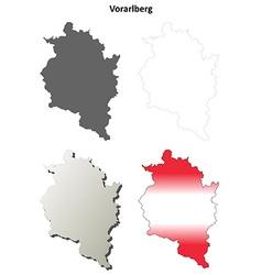 Vorarlberg blank detailed outline map set vector