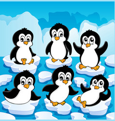 winter theme with penguins 1 vector image