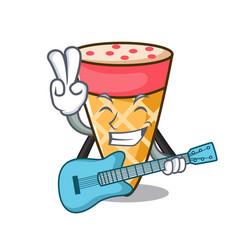 With guitar ice cream tone mascot cartoon vector