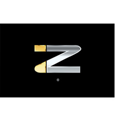 Z silver gold letter alphabet logo icon design vector
