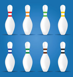 Bowling pin in different color on blue background vector