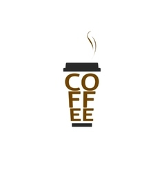Coffee cup logo isolated paper mug text vector image vector image