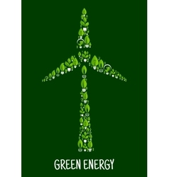 Green energy symbol with wind turbine silhouette vector image vector image
