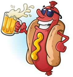 Hot Dog Cartoon with Sunglasses and Beer vector image vector image