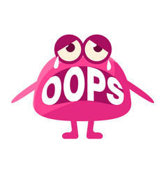 Pink blob saying oops cute emoji character with vector
