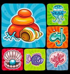 swirl vacation icon or sticker set tropical fish vector image vector image