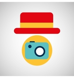 travel tourist hat concept photo camera vector image vector image