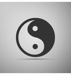 Yin Yang symbol icon on grey background vector image vector image