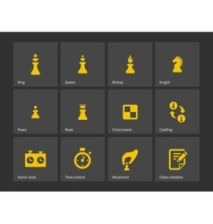 Chess figures and board icons vector image