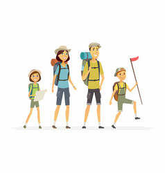 family goes hiking - cartoon people characters vector image vector image