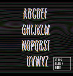 glitch effect on the font vector image