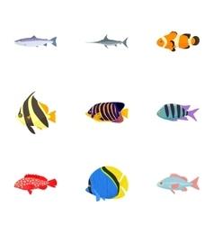 Marine fish icons set cartoon style vector image vector image