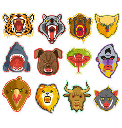 animals portrait heads with open mouth of vector image vector image