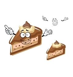 Cartoon chocolate cheesecake with buttercream vector image