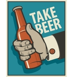 human hand with a bottle of beer vector image