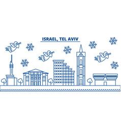Israel tel aviv winter city skyline merry vector