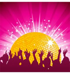 orange disco ball and crowd vector image vector image