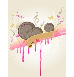 Retro music background with speakers vector image