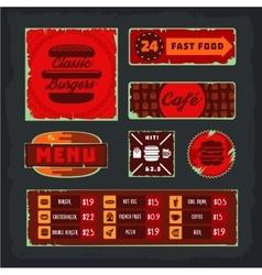 Vintage fast food banner set vector image vector image