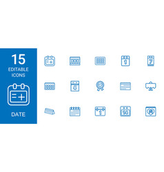 15 date icons vector