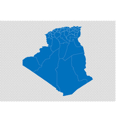 algeria map - high detailed blue map with vector image