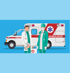 Ambulance staff concept car and doctor vector