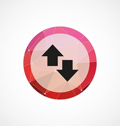 arrow circle pink triangle background icon vector image
