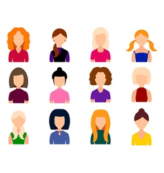 Avatars girls with different hairstyles vector