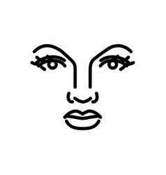 beautiful woman face line art vector image