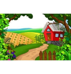 Beauty red house with landscape background vector