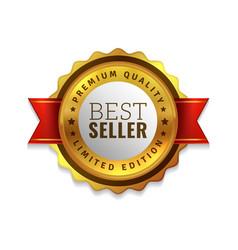 best seller badge premium golden emblem luxury vector image