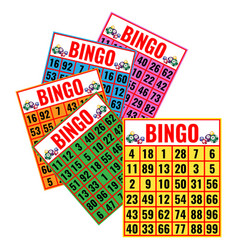Bingo colorful cards isolated vector