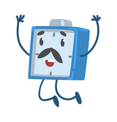 Blue alarm clock character jumping with raised vector