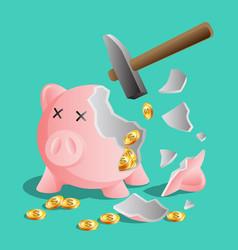 Broken pink piggy bank by hammer bright gold vector