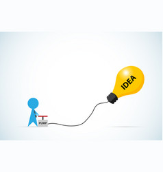 businessman pumping air into lightbulb balloon vector image