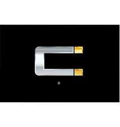 C silver gold letter alphabet logo icon design vector