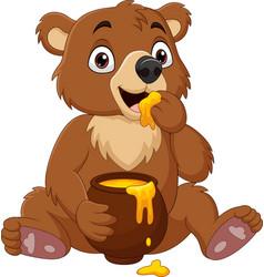cartoon babear sitting and eating honey vector image