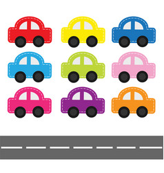 cartoon car set with dash line and horizontal vector image