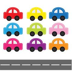Cartoon car set with dash line and horizontal vector