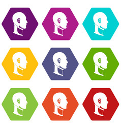 Cervical collar icon set color hexahedron vector