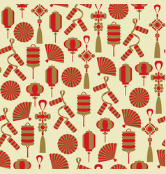 chinese lanterns and decor seamless pattern vector image